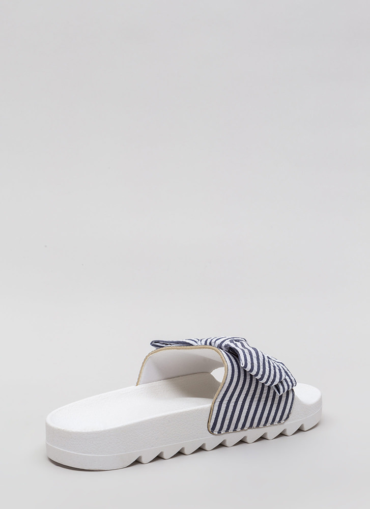 Bow Stripe Win Platform Slide Sandals BLUE