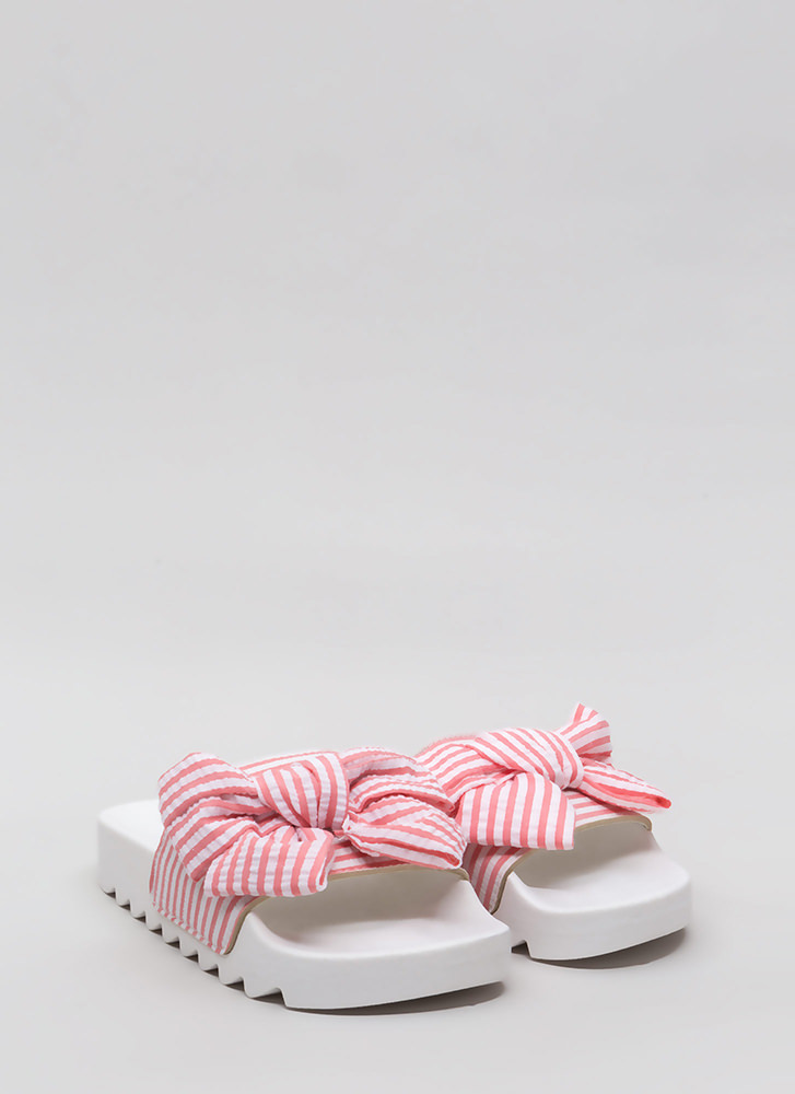 Bow Stripe Win Platform Slide Sandals PINK