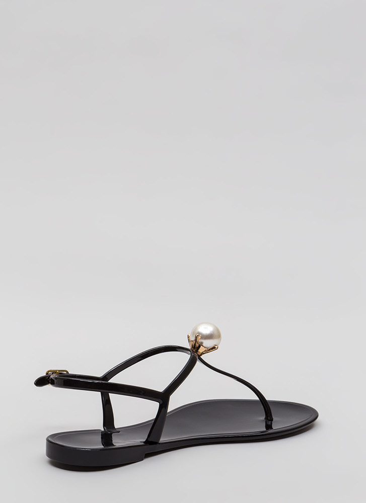 Pretty As A Pearl Jelly Thong Sandals BLACK