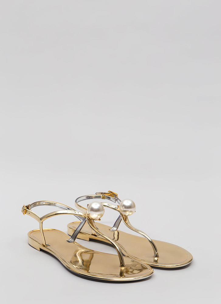 Pretty As A Pearl Jelly Thong Sandals GOLD