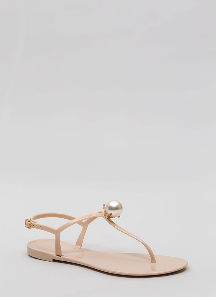 Pretty As A Pearl Jelly Thong Sandals NUDE