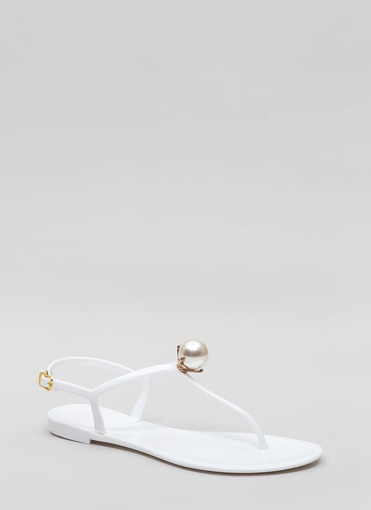 fc9a0f38663f Pretty As A Pearl Jelly Thong Sandals BLACK WHITE - GoJane.com