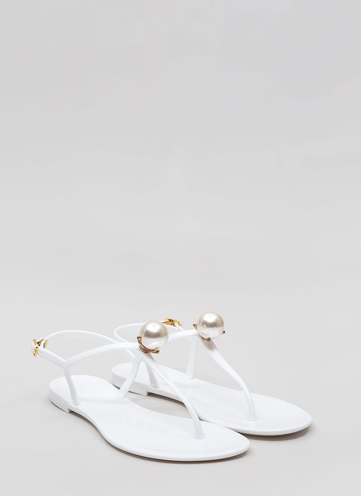 Pretty As A Pearl Jelly Thong Sandals WHITE