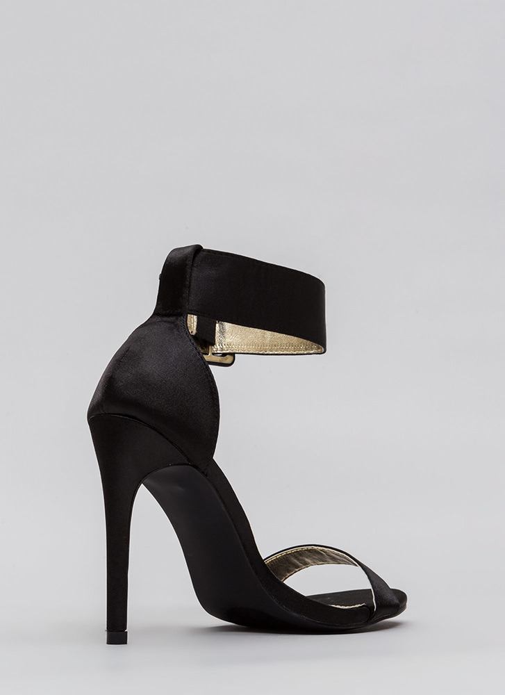 You're Golden Satin Ankle Strap Heels BLACK