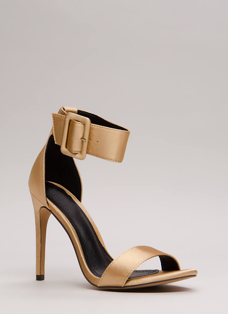 You're Golden Satin Ankle Strap Heels CHAMPAGNE