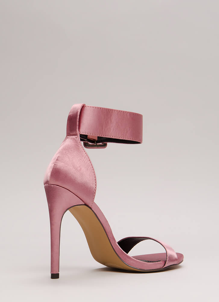 You're Golden Satin Ankle Strap Heels DUSTYPINK