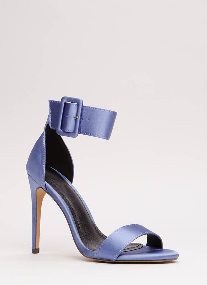 You're Golden Satin Ankle Strap Heels MOONLIGHT