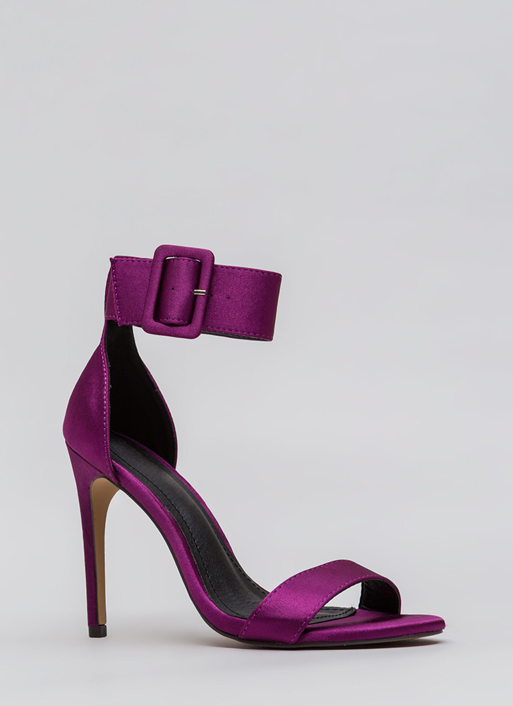 You're Golden Satin Ankle Strap Heels PURPLE