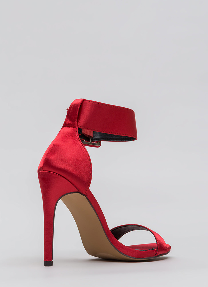 You're Golden Satin Ankle Strap Heels RED