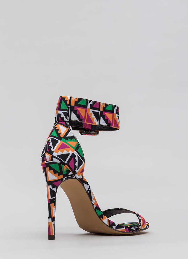 You're Golden Tribal Ankle Strap Heels MULTI