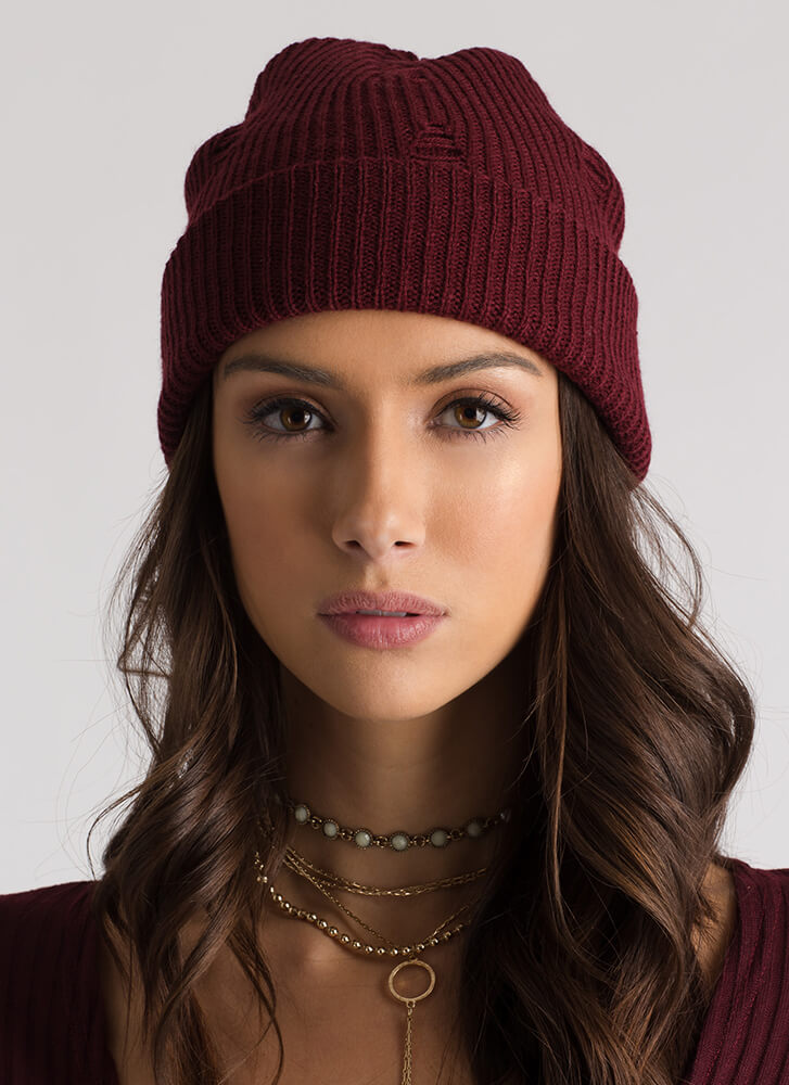 Don't Be Distressed Knit Beanie BURGUNDY