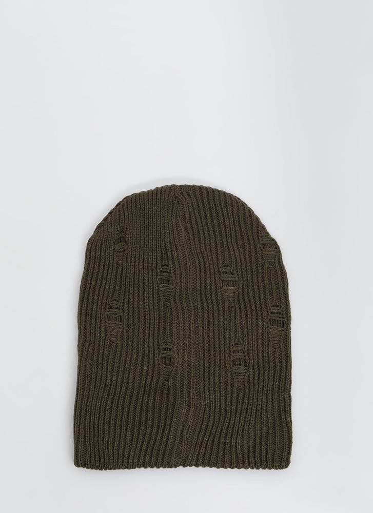 Don't Be Distressed Knit Beanie OLIVE