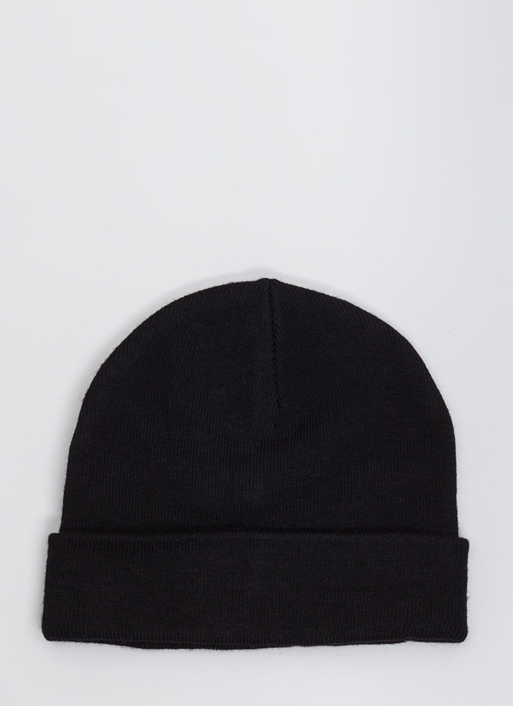 Bad Hair Day Embroidered Knit Beanie BLACK