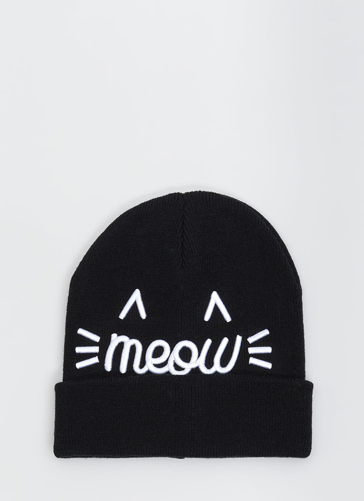 Right Meow Embroidered Knit Beanie BLACK