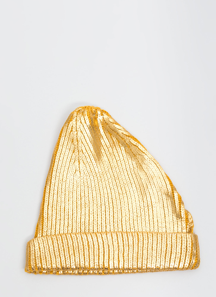 Tip Of The Morning Metallic Knit Beanie GOLD