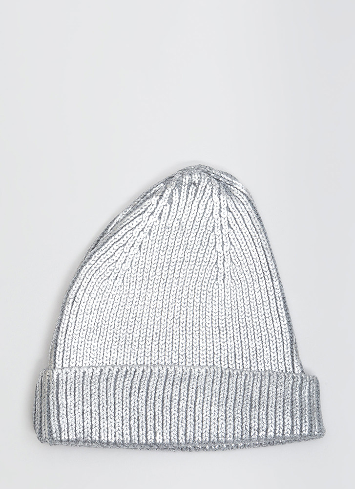 Tip Of The Morning Metallic Knit Beanie SILVER