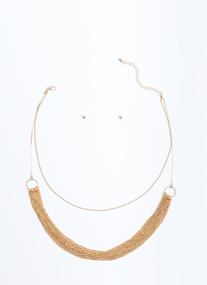 Chain Gang Layered Necklace Set GOLD