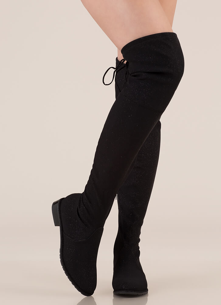 Speck-tacle Drawstring Thigh-High Boots BLACK