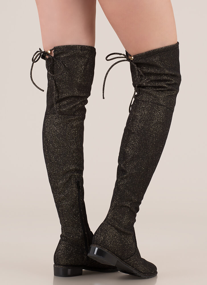 Speck-tacle Drawstring Thigh-High Boots GOLD