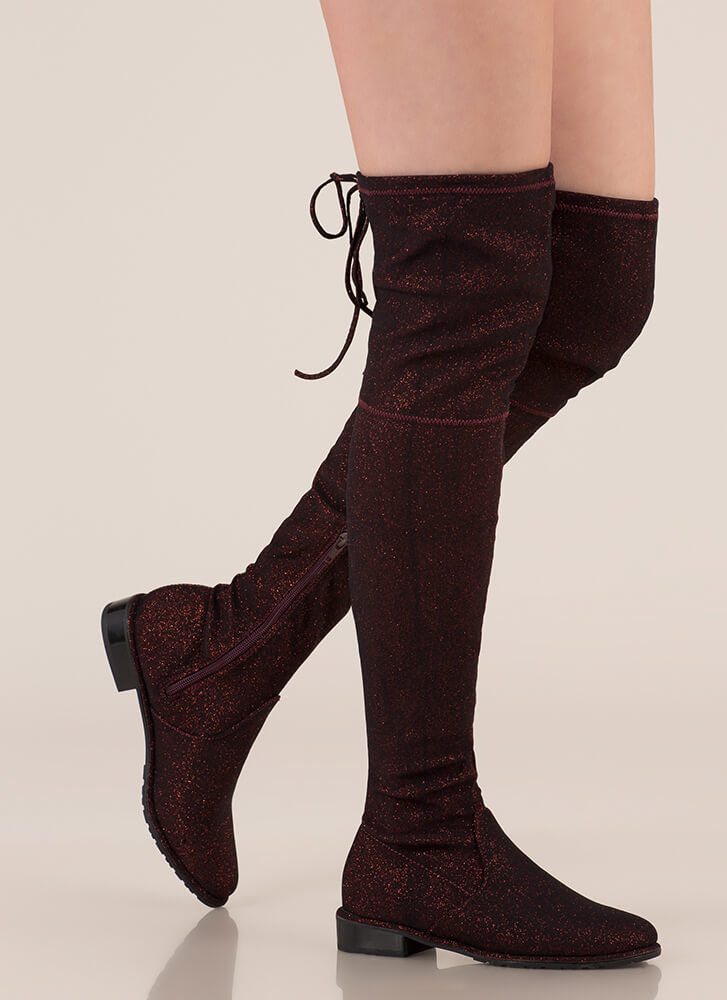 Speck-tacle Drawstring Thigh-High Boots RED