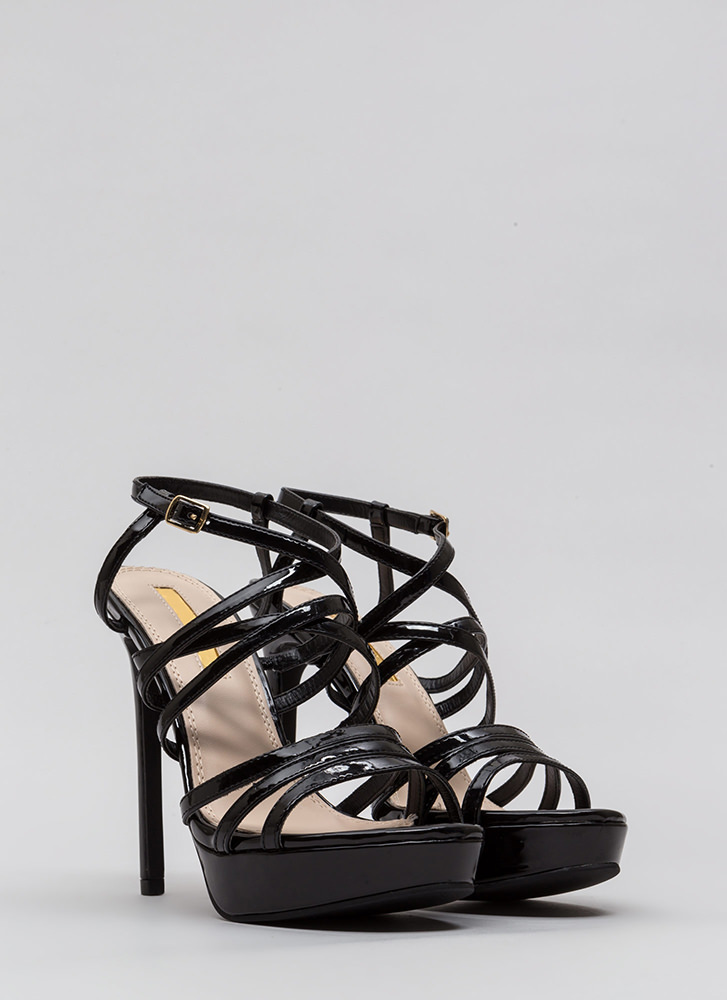 The Skinny Strappy Faux Patent Heels BLACK
