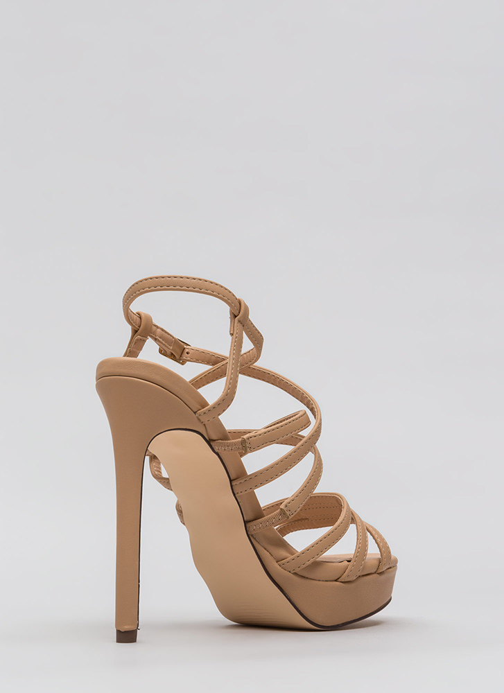 The Skinny Strappy Faux Patent Heels NUDE