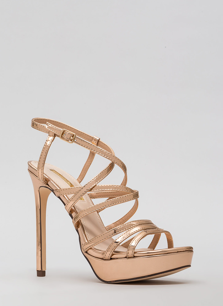 The Skinny Strappy Metallic Heels ROSEGOLD