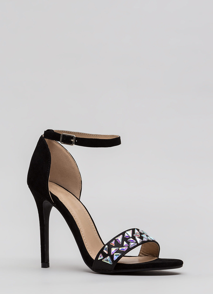 Set In Stone Strappy Jeweled Heels BLACK