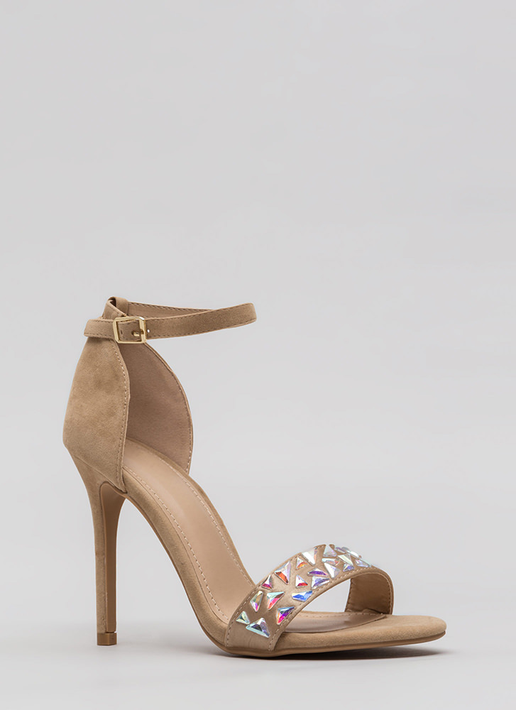 Set In Stone Strappy Jeweled Heels NUDE