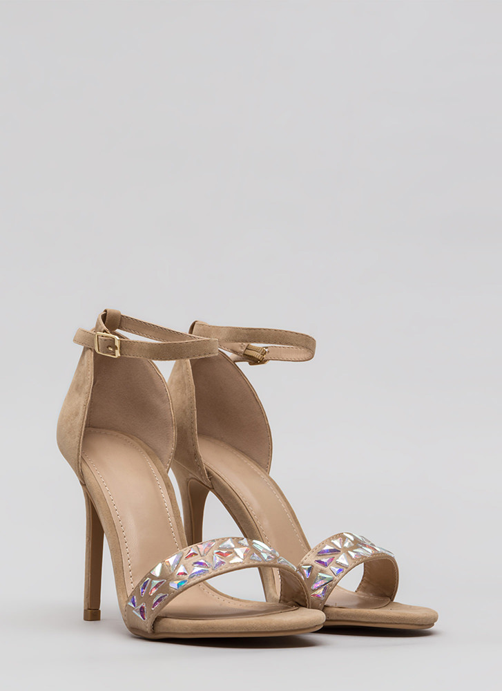 Set In Stone Strappy Jeweled Heels NUDE (You Saved $22)