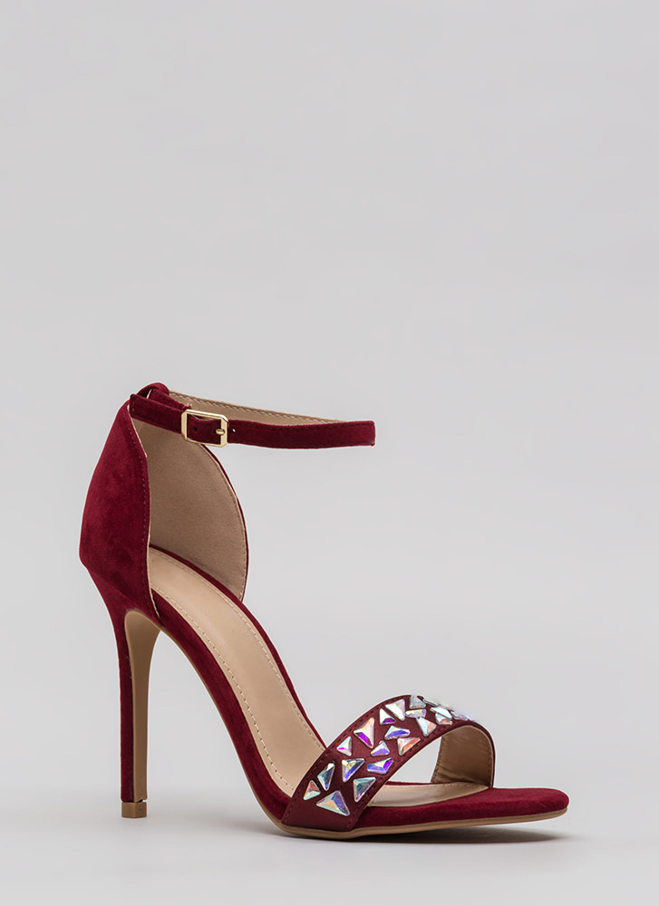 Set In Stone Strappy Jeweled Heels WINE (You Saved $22)