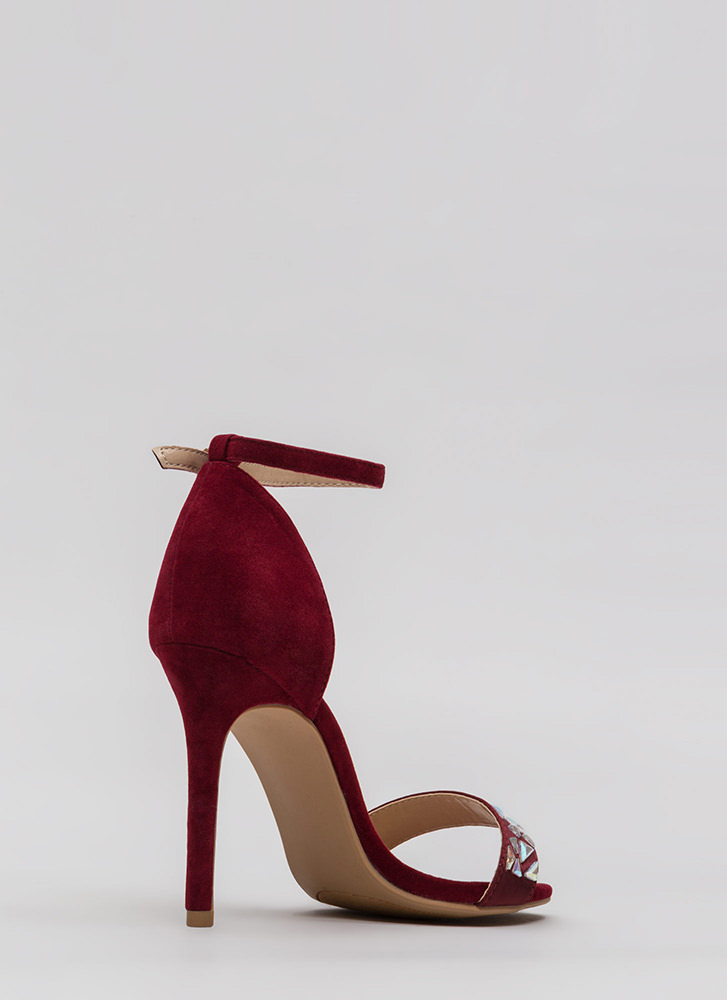 Set In Stone Strappy Jeweled Heels WINE