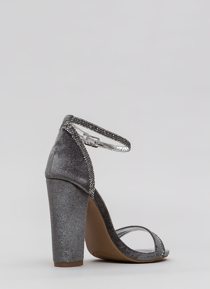 Trim And Proper Jeweled Velvet Heels GREY