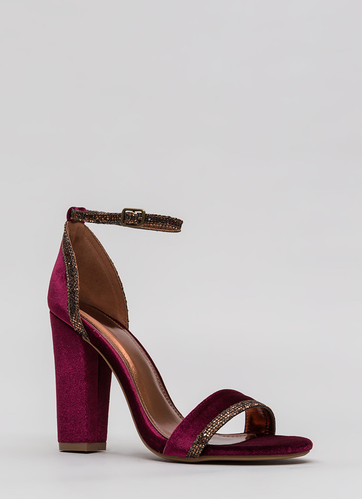 Trim And Proper Jeweled Velvet Heels WINE