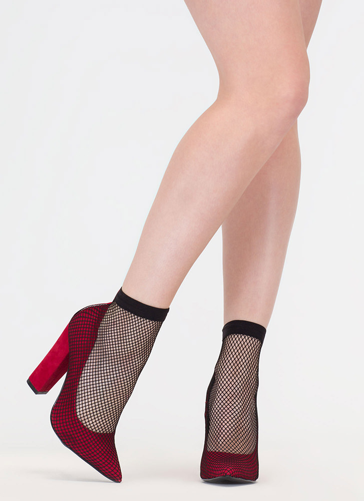 Plenty Of Fishnet Chunky Pointy Pumps RED