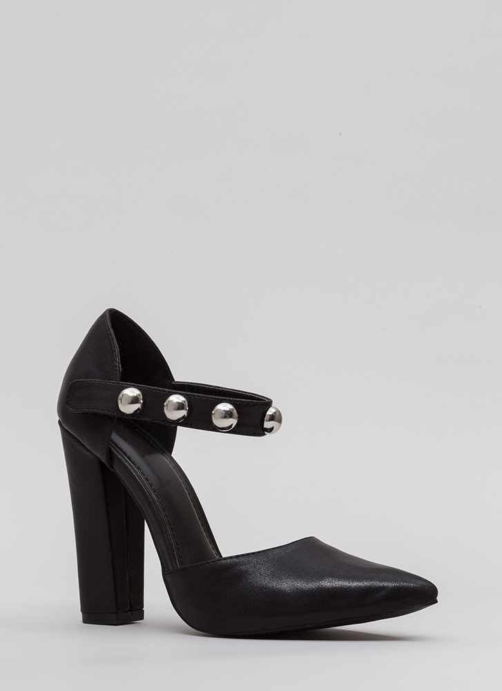 Playing Dome Pointy Ankle Strap Heels BLACK