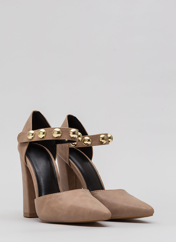 Playing Dome Pointy Ankle Strap Heels TAUPE