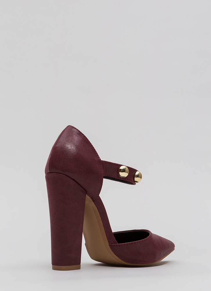 Playing Dome Pointy Ankle Strap Heels WINE