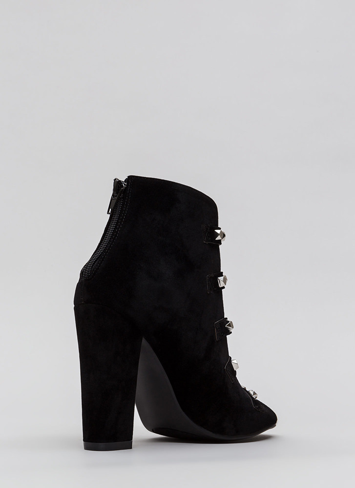 Rock This Way Strappy Velvet Heels BLACK