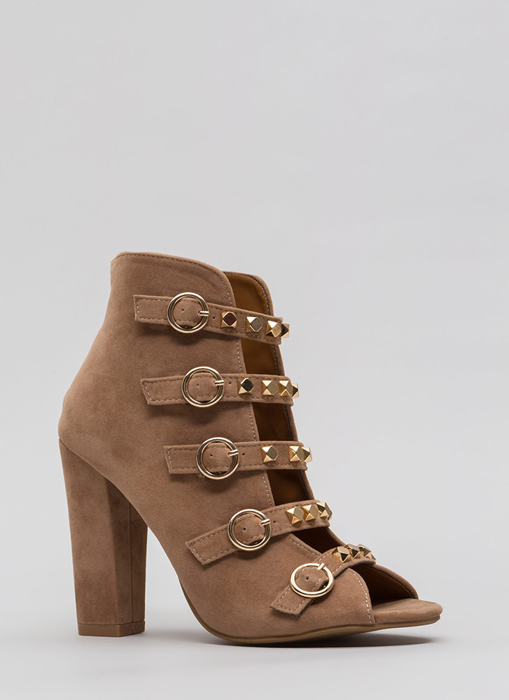 Rock This Way Strappy Velvet Heels TAUPE