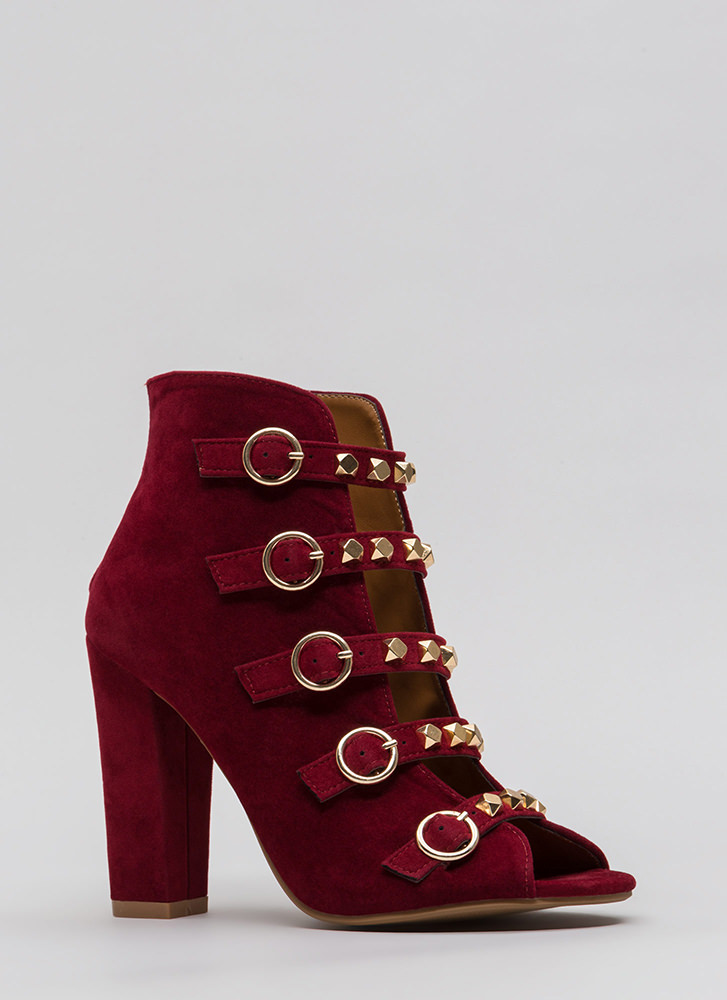 Rock This Way Strappy Velvet Heels WINE