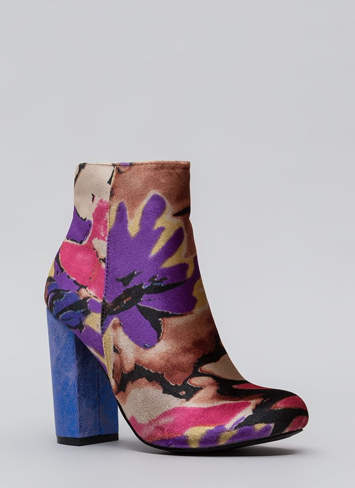 Floral Masterpiece Chunky Velvet Booties BLUE