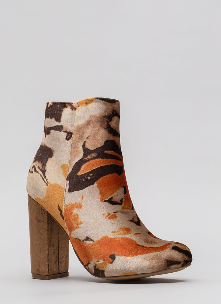 Floral Masterpiece Chunky Velvet Booties TAN