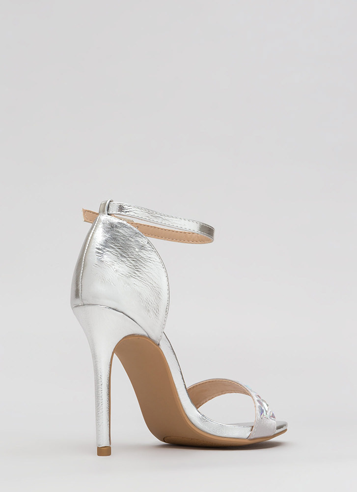 Set In Stone Metallic Jeweled Heels SILVER (Final Sale)