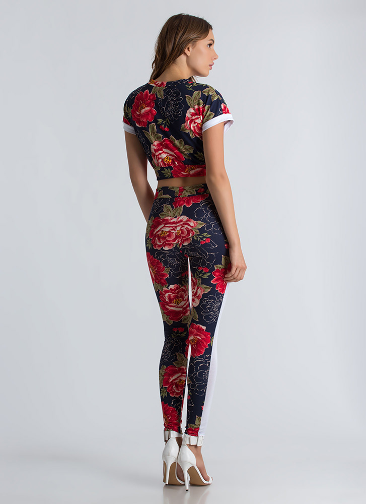 Flower Person Crop Top And Legging Set NAVY