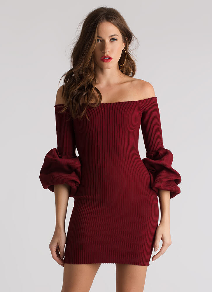 Puff You're Gone Knit Off-Shoulder Dress DKRED (Final Sale)