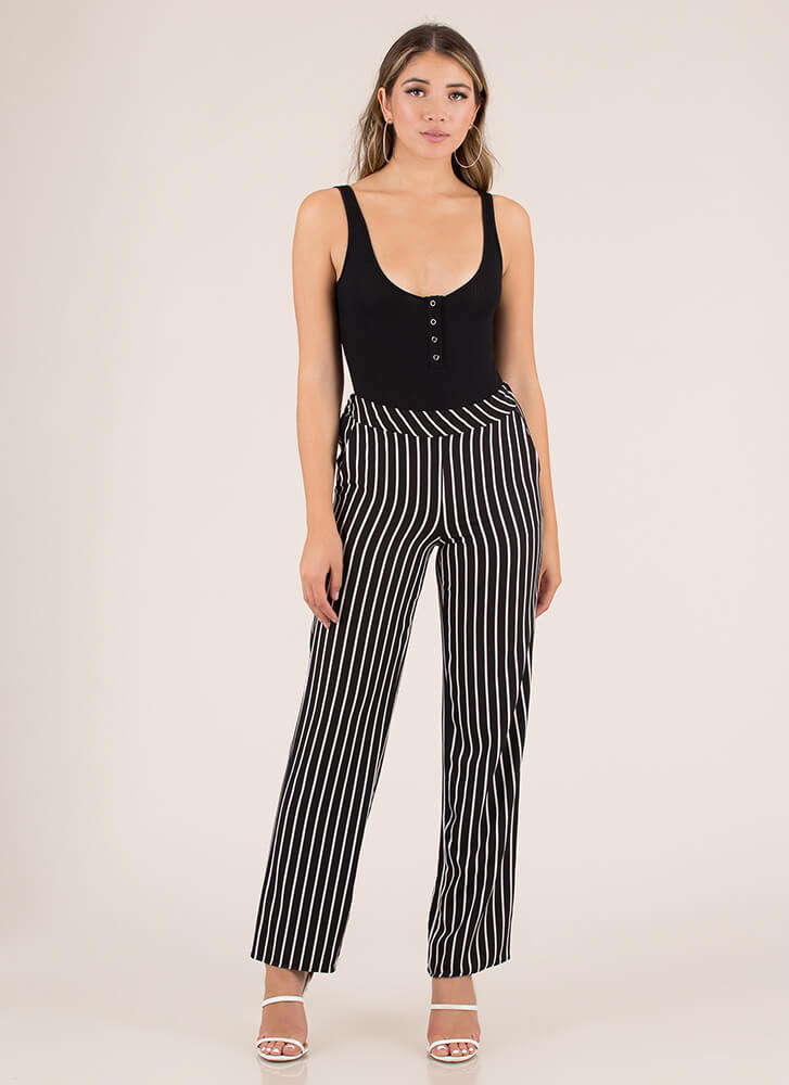 Enter Your Pinstripe Wide-Leg Pants BLACK
