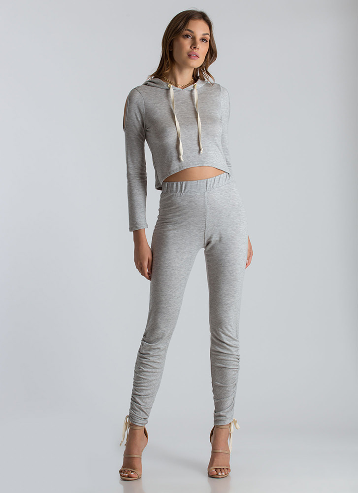 No Sweat Cold-Shoulder Hoodie Top LTGREY