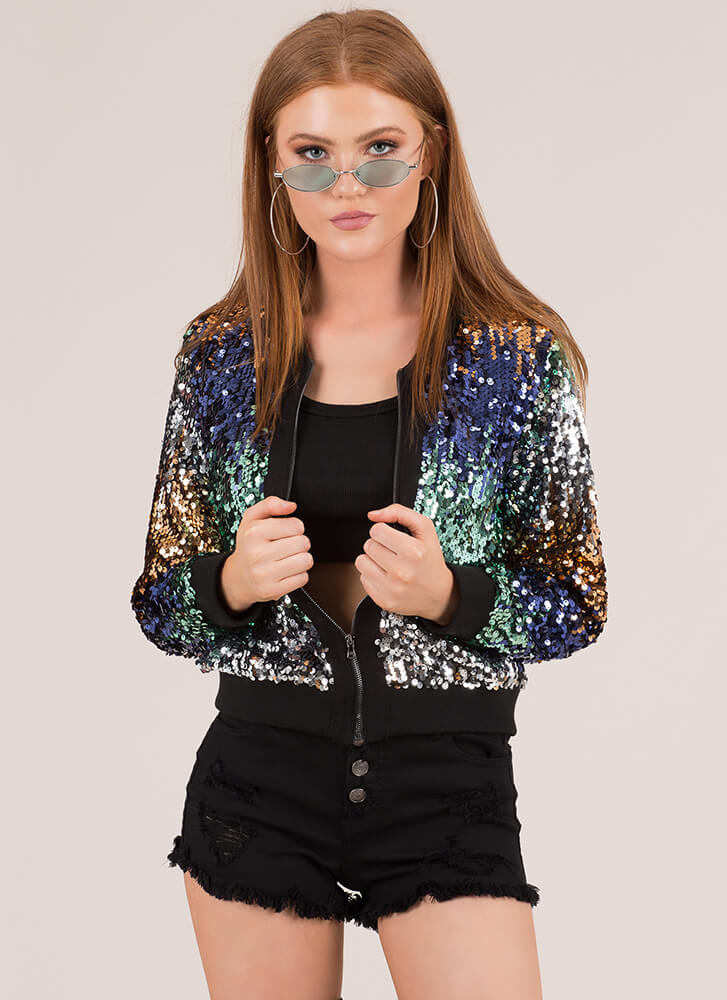 Party Hopper Ombre Sequined Bomber BLUEMULTI