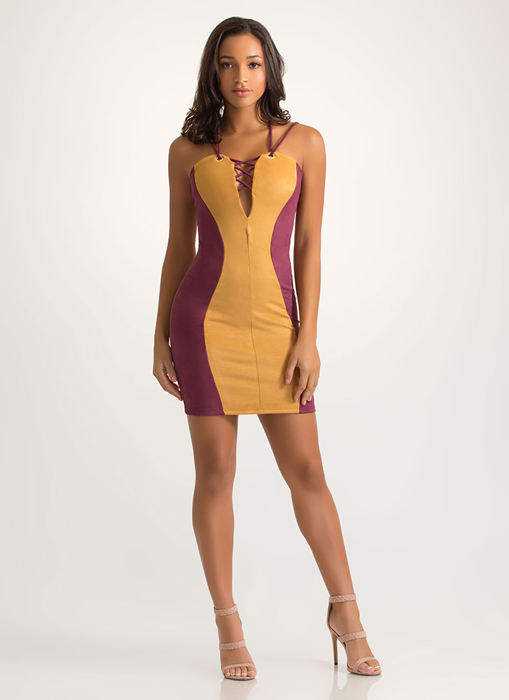 The Hourglass Strappy Faux Suede Dress MUSTARD (Final Sale)